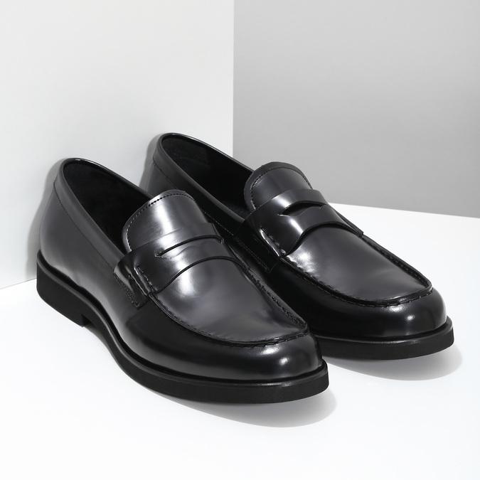 Pánské kožené mokasíny černé bata, černá, 814-6177 - 26