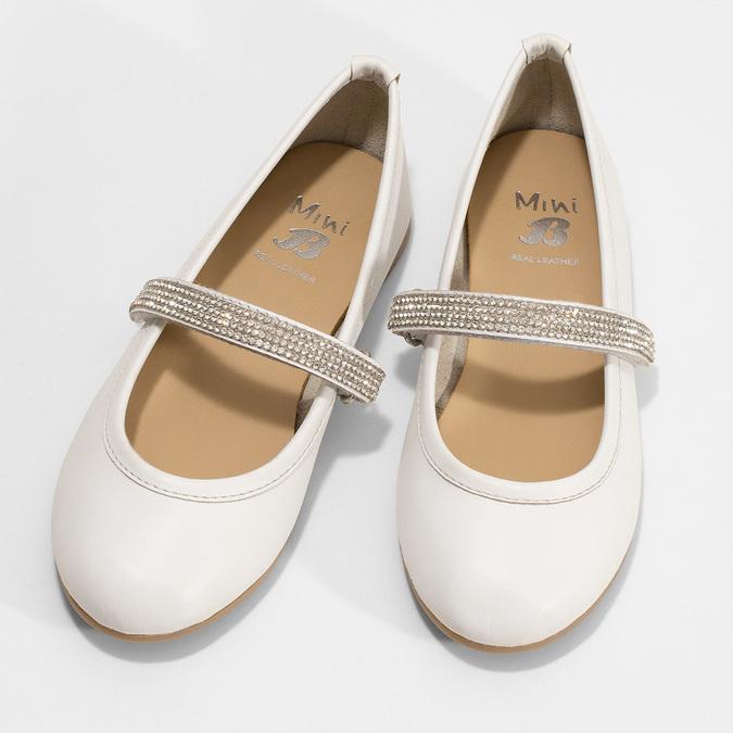 Bílé dívčí kožené baleríny se štrasovým páskem mini-b, bílá, 324-1272 - 16