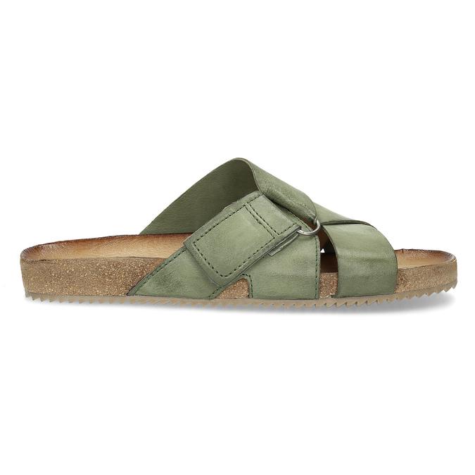 Khaki kožené nazouváky bata, khaki, 866-7647 - 19