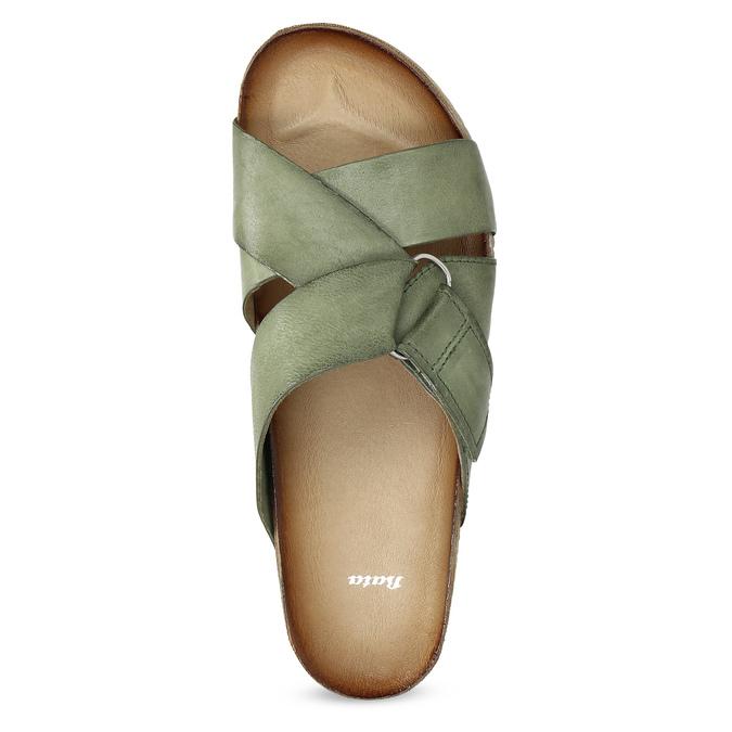 Khaki kožené nazouváky bata, khaki, 866-7647 - 17