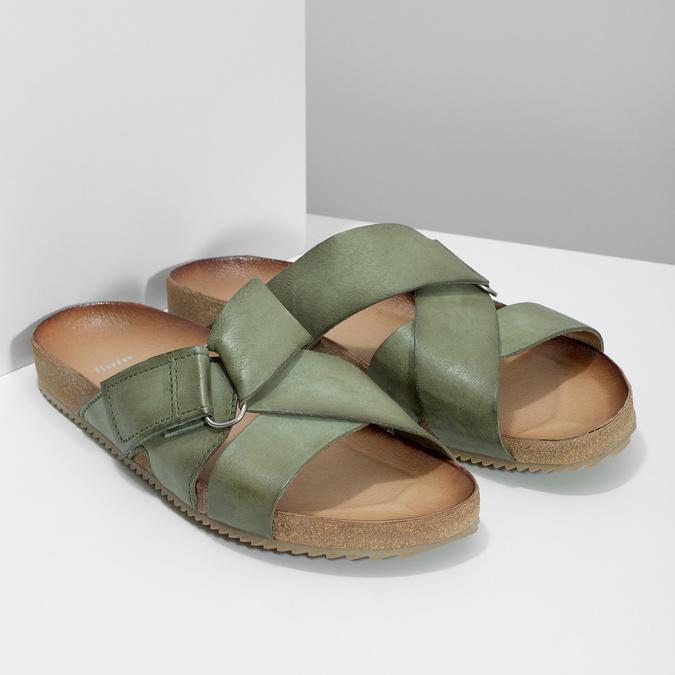 Khaki kožené nazouváky bata, khaki, 866-7647 - 26