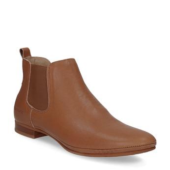 Dámské kožené hnědé Chelsea Boots ten-points, hnědá, 516-4044 - 13
