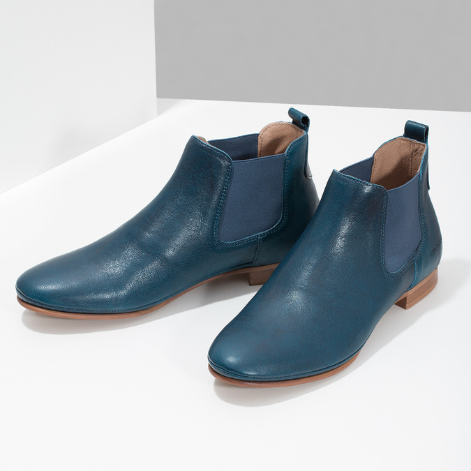 Dámské kožené modré Chelsea Boots ten-points, modrá, 516-9044 - 16