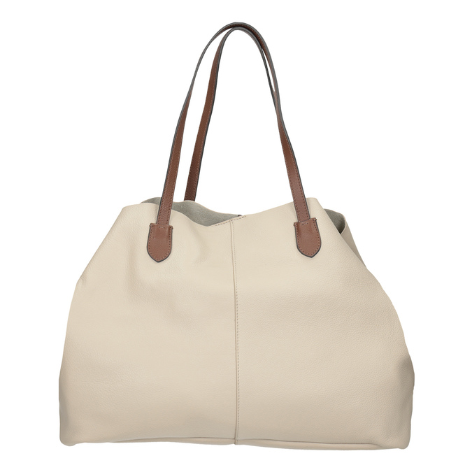 Béžová kožená kabelka s hnědými uchy bata, béžová, 964-8293 - 16