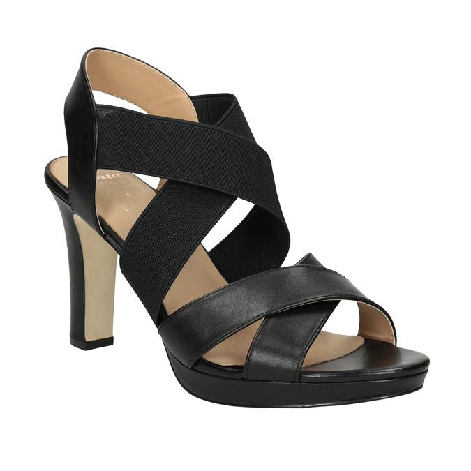 Černé kožené sandály na podpatku s pružením insolia, černá, 766-6606 - 13