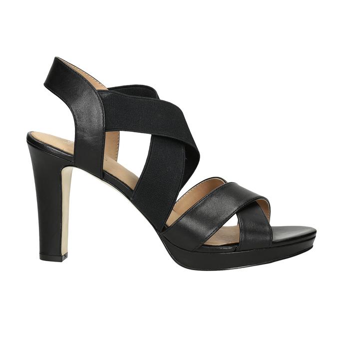 Černé kožené sandály na podpatku s pružením insolia, černá, 766-6606 - 16