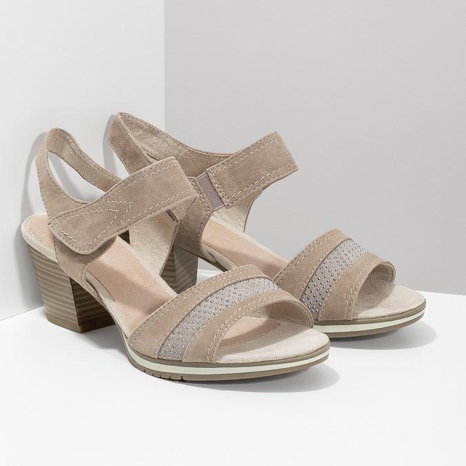 Kožené sandály šíře H s kamínky bata, béžová, 666-8616 - 26