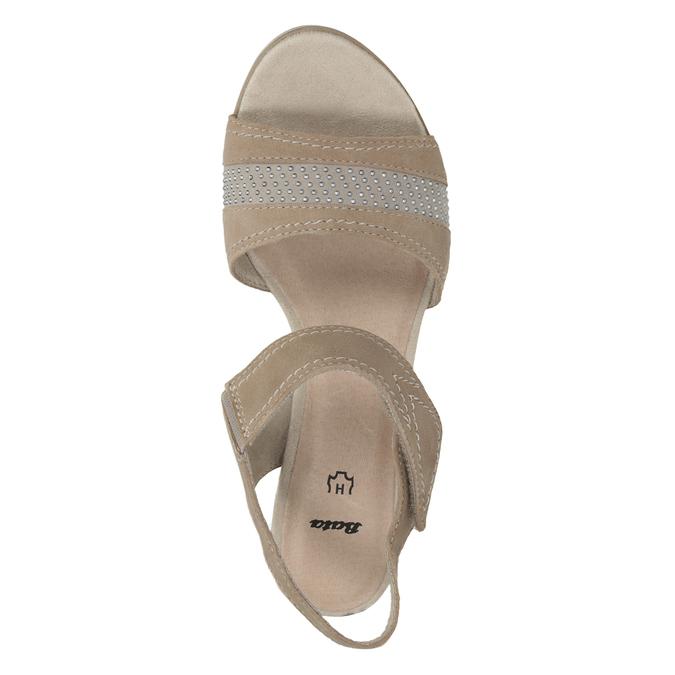 Kožené sandály šíře H s kamínky bata, béžová, 666-8616 - 15