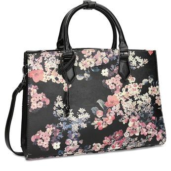 Dámská kabelka s květovaným vzorem černá picard, černá, 961-6055 - 13