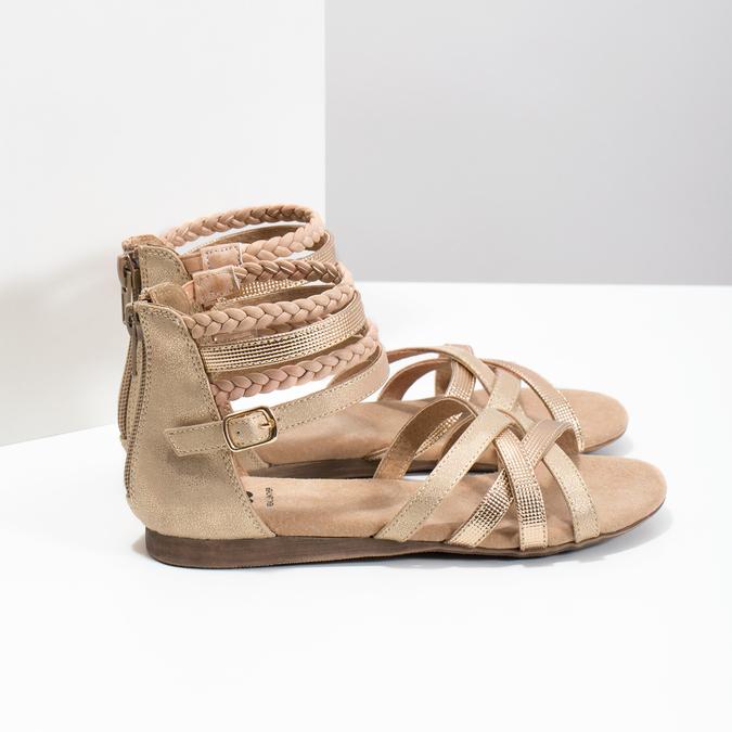 Zlaté dívčí sandály s pletením mini-b, zlatá, 361-8605 - 16