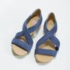 Kožené sandály na klínku modré bata, modrá, 563-9600 - 16