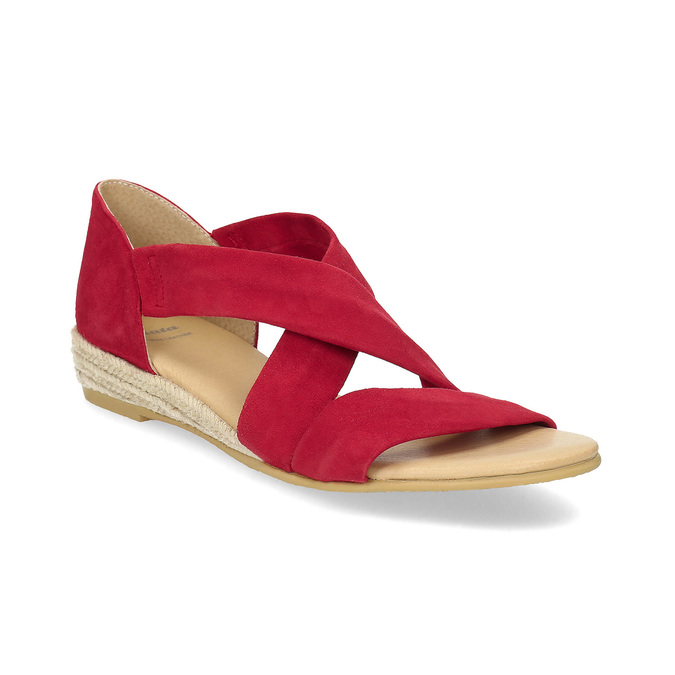 Červené kožené sandály na klínku bata, červená, 563-5600 - 13