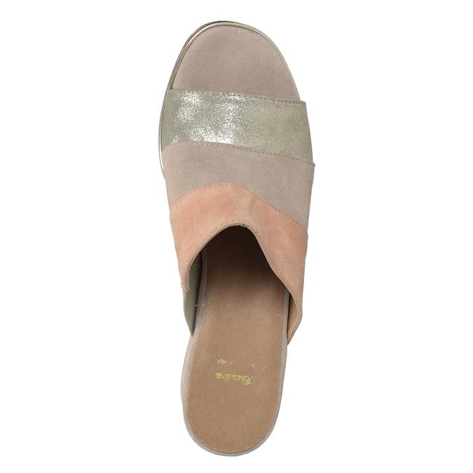 Kožené nazouváky na podpatku růžové bata, růžová, 666-8625 - 17
