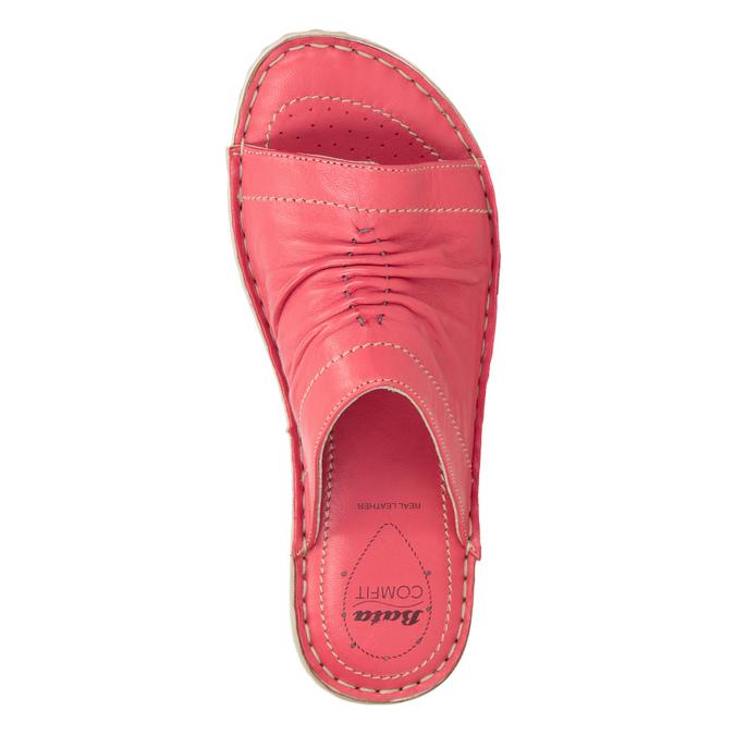 Červené dámské kožené nazouváky s řasením comfit, červená, 566-5633 - 17