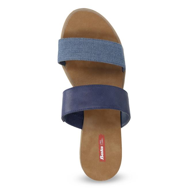 Modré dámské nazouváky na nízkém klínku bata-red-label, modrá, 561-9609 - 17