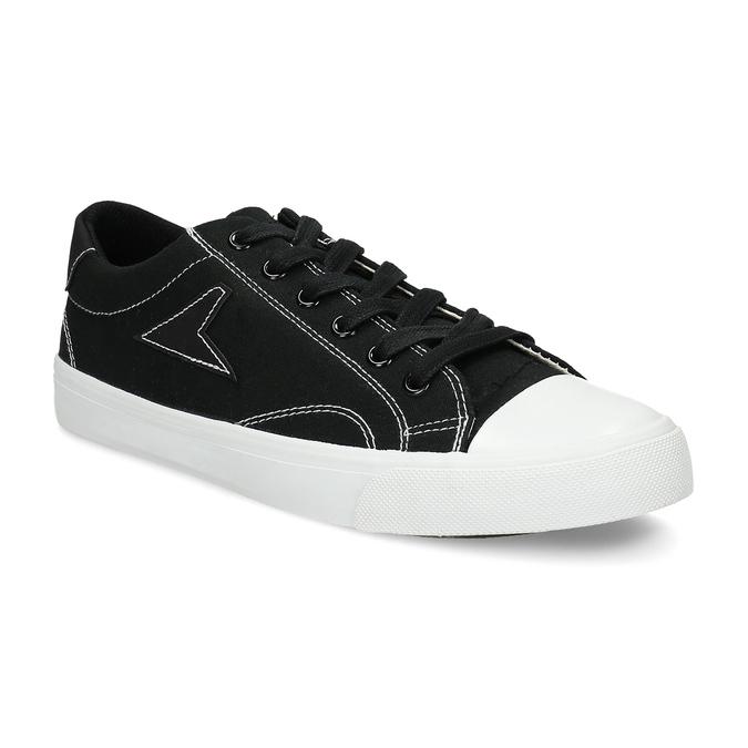Černé pánské tenisky s bílým prošitím bata-hotshot, černá, 889-6245 - 13