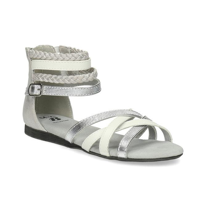 Bílo-stříbrné dívčí sandály mini-b, stříbrná, 361-1605 - 13