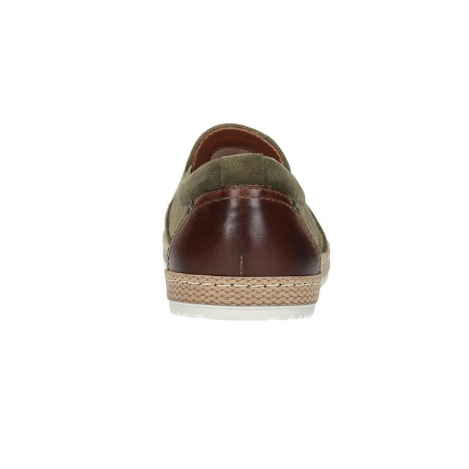Pánské Slip-on z broušené khaki kůže bata, zelená, 833-7602 - 16