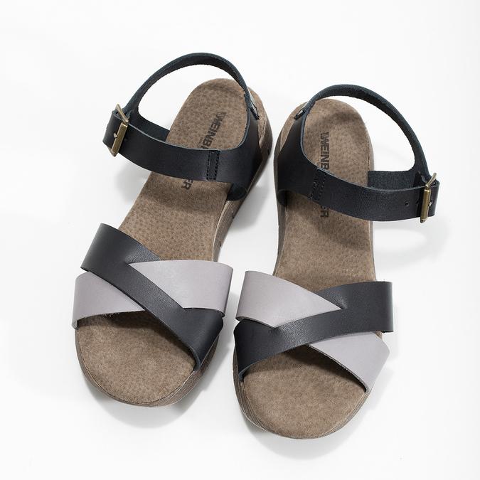 Šedo-černé kožené dámské sandály weinbrenner, černá, 566-6641 - 16