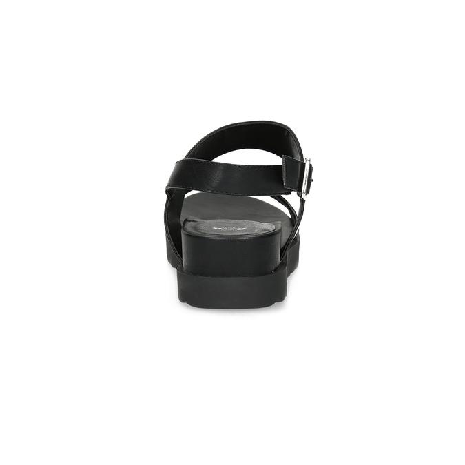 Černé sandály se třpytkami na vyšší podešvi bata-light, černá, 561-6617 - 15