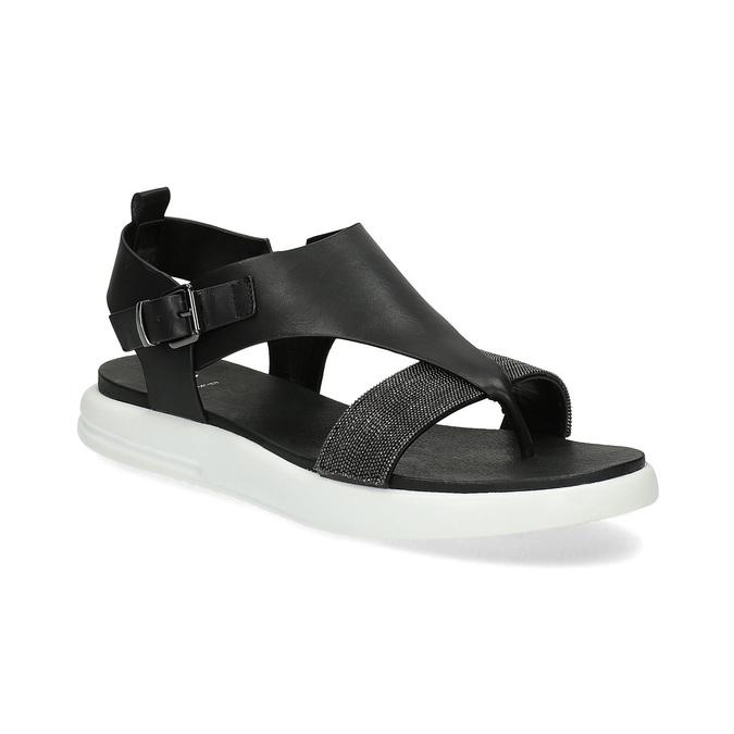 Černé dámské sandály na výrazné podešvi bata-light, černá, 561-6616 - 13