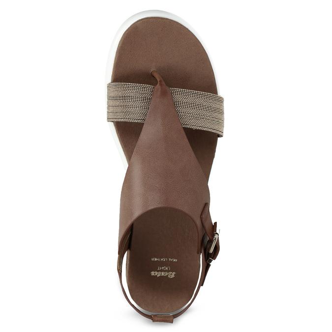 Hnědé dámské sandály na výrazné podešvi bata-light, hnědá, 561-4616 - 17