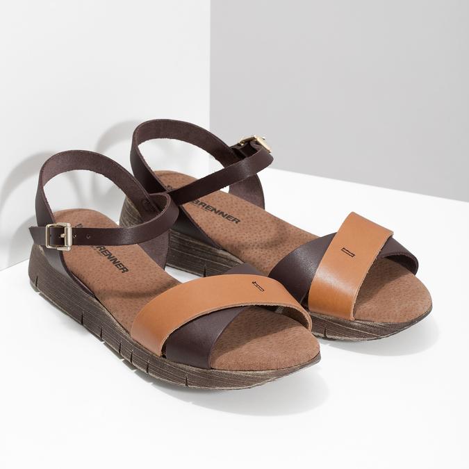 Dámské hnědé kožené sandály weinbrenner, hnědá, 566-4642 - 26