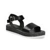 Černé dámské kožené sandály s flatformou bata, černá, 666-6634 - 13