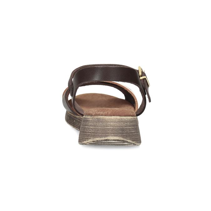 Dámské hnědé kožené sandály weinbrenner, hnědá, 566-4642 - 15