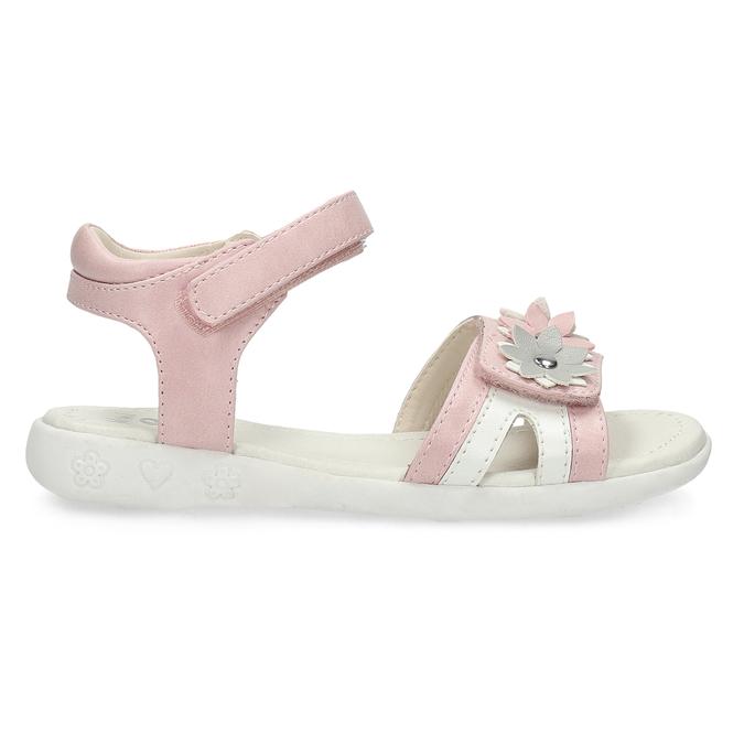 Růžovo-bílé dívčí sandály s kytičkami mini-b, růžová, 261-5615 - 19