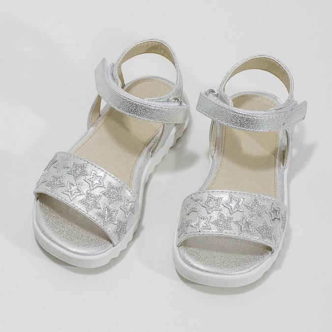 Stříbrné dívčí sandály s hvězdičkami mini-b, stříbrná, 261-1211 - 16