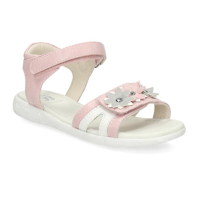 Růžovo-bílé dívčí sandály s kytičkami mini-b, růžová, 261-5615 - 13