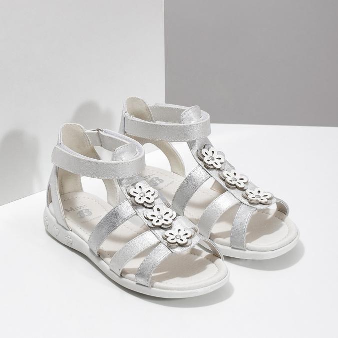 Stříbrné dívčí sandály s kytičkami mini-b, stříbrná, 261-1614 - 26