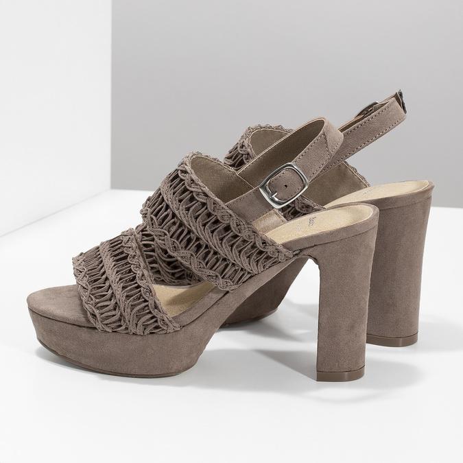 Dámské sandály na stabilním podpatku s proplétáním bata, hnědá, 769-3634 - 16