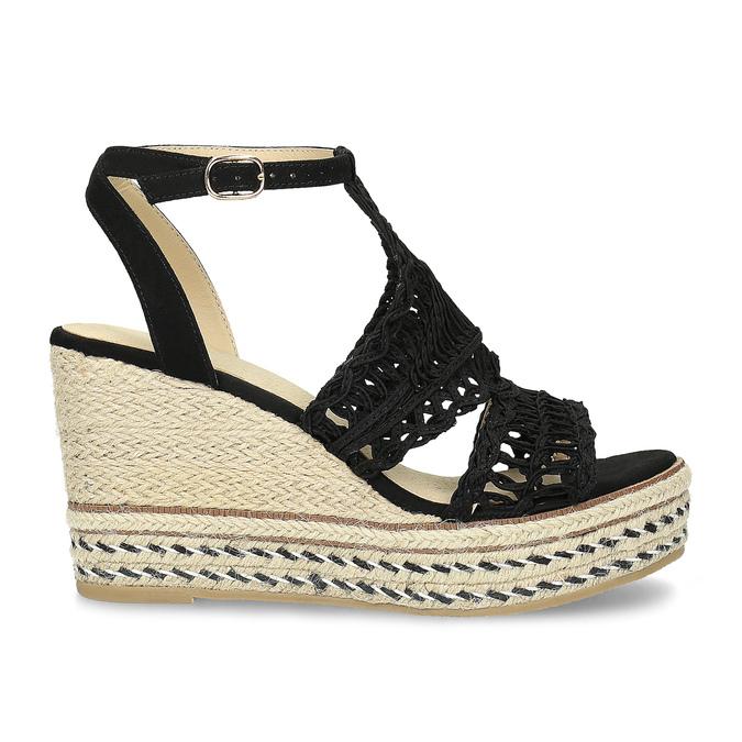 Černé  proplétané sandály na platformě bata, černá, 759-6633 - 19