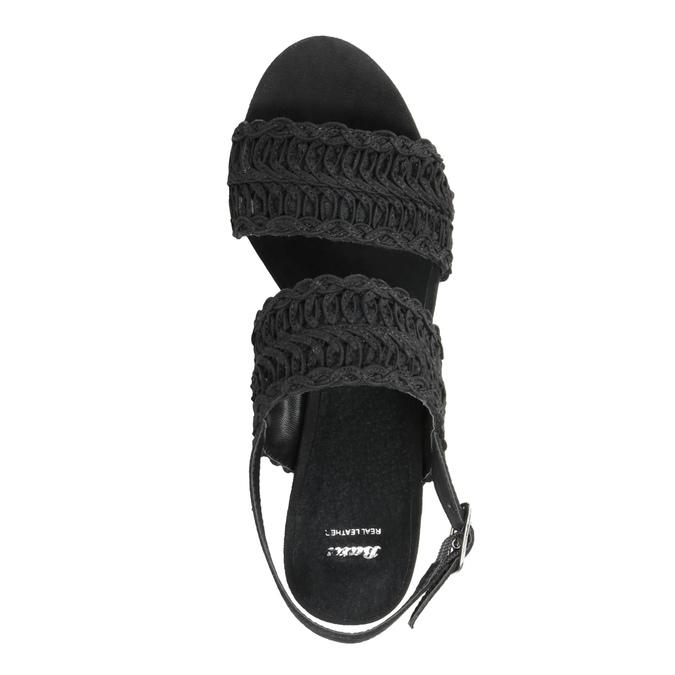 Černé dámské sandály na podpatku s propletením bata, černá, 769-6634 - 15