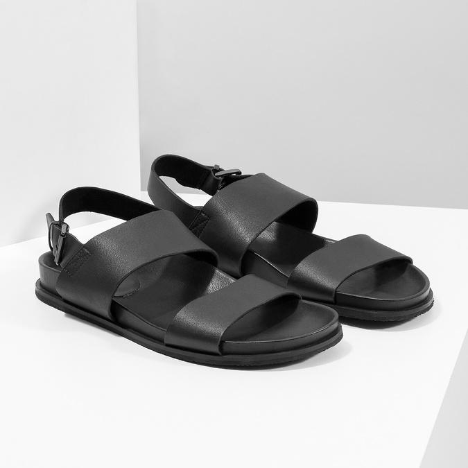 Černé pánské minimalistické kožené sandály bata, černá, 866-6638 - 26