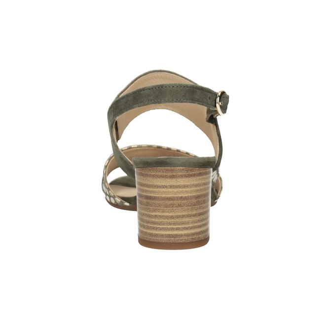 Kožené sandály na stabilním podpatku šíře G gabor, khaki, 766-7035 - 16