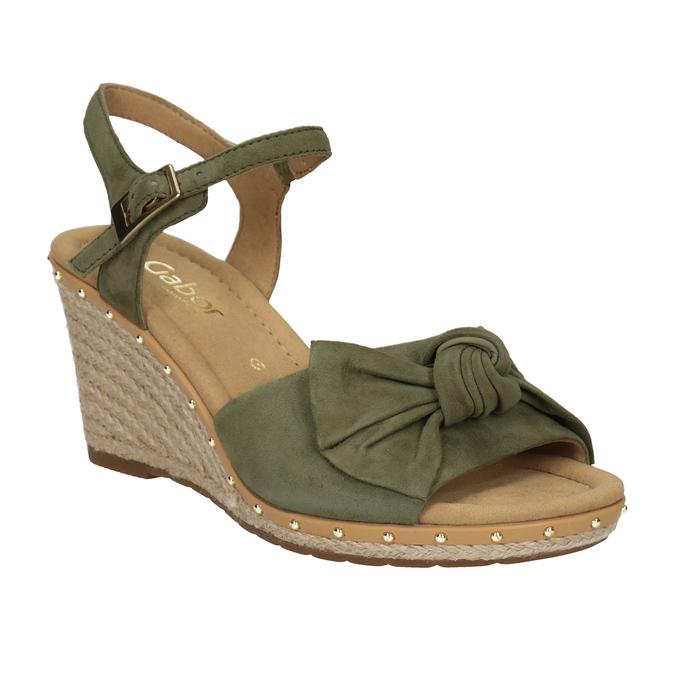 Khaki kožené sandály na klínku šíře G gabor, khaki, 763-7004 - 13