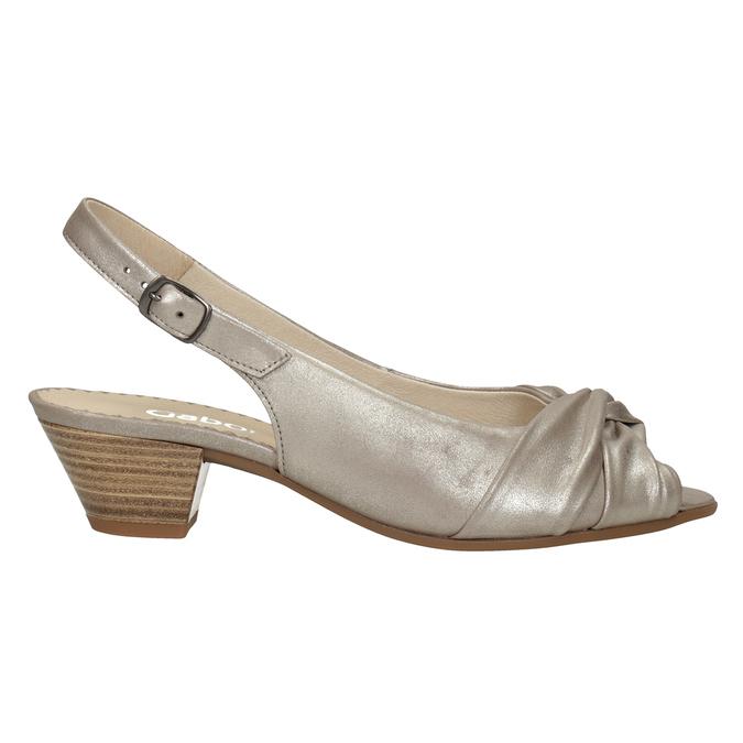 Kožené sandály na stabilním podpatku šíře H gabor, zlatá, 666-8020 - 26
