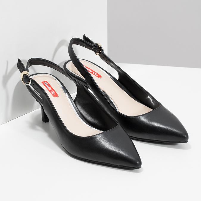 Lodičky do špičky s volnou patou bata-red-label, černá, 621-6605 - 26