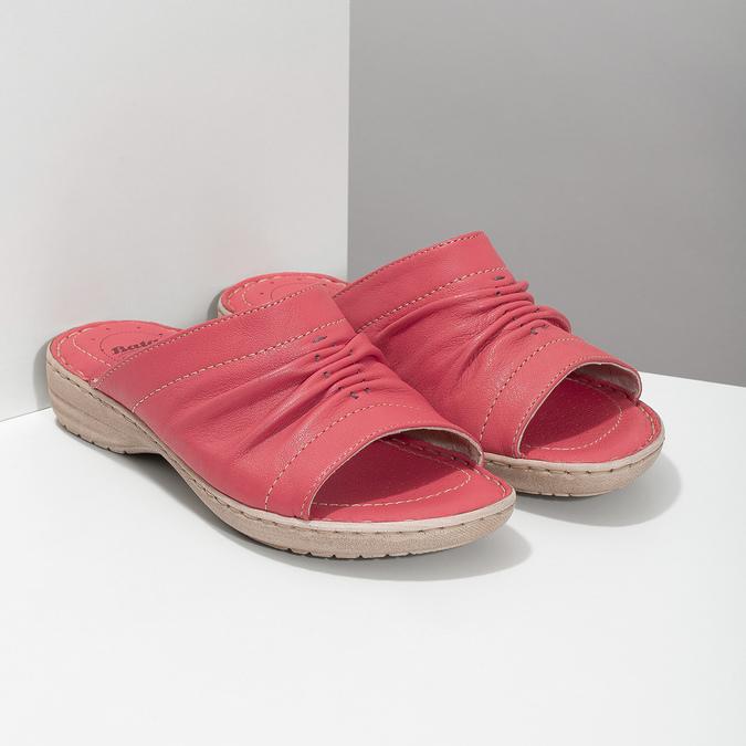 Červené dámské kožené nazouváky s řasením comfit, červená, 566-5633 - 26