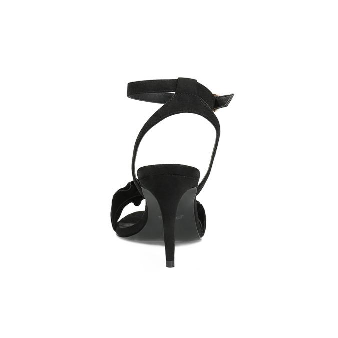Černé sandály na jehlovém podpatku s volánem insolia, černá, 769-6619 - 15