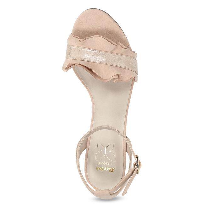 Růžové sandály na jehlovém podpatku s volánem insolia, růžová, 769-5619 - 17