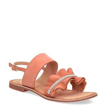 Dámské kožené sandály s perličkami růžové bata, růžová, 566-5632 - 13