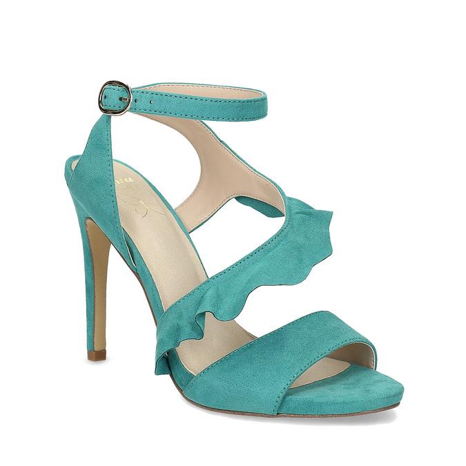 Dámské sandály s volánem tyrkysové insolia, tyrkysová, 769-9620 - 13