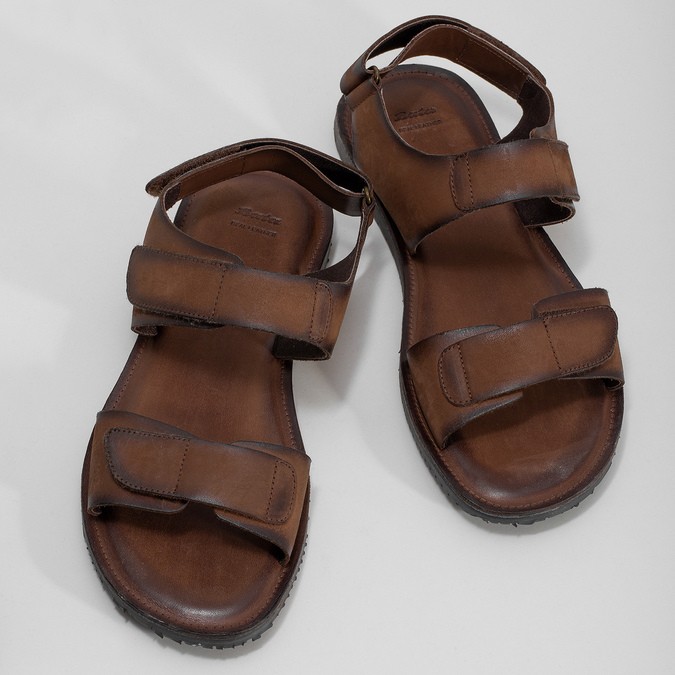 Pánské kožené sandály hnědé bata, hnědá, 866-4633 - 16