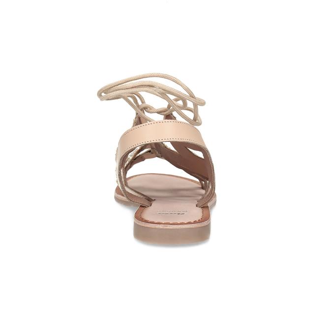 Béžové kožené sandály se šněrováním a korálky bata, béžová, 566-8639 - 15