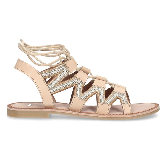 Béžové kožené sandály se šněrováním a korálky bata, béžová, 566-8639 - 19