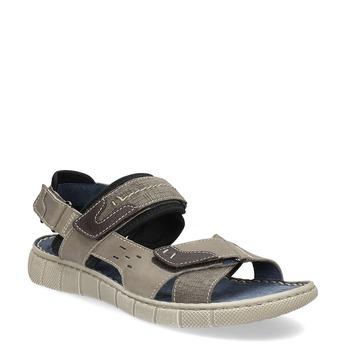 Kožené šedé sandály na suchý zip bata, hnědá, 866-4640 - 13